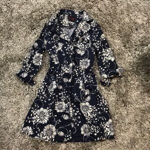 Navy blue floral trench coat floral shirt dress